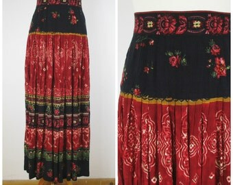 Vintage 80s 90s Red and Black Floral Maxi Skirt - Boho Hippie Floor Length Broomstick Gypsy Skirt - S M
