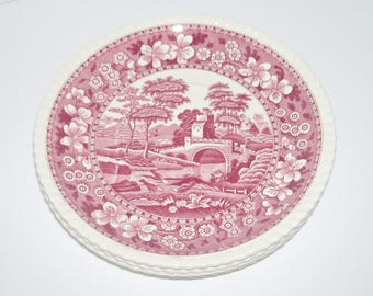 Copeland Spode Tower Pink Red Transferware 4 Large Oversized Saucers