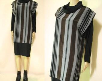 1980s Vintage Dress Avant Garde Cowl Stripes Vtg Grey Black Mid length 80s Size M-L