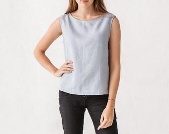 Basic linen top, Dusty blue blouse, Linen blouse, Linen top,  Minimal top, Minimal linen blouse, Washed linen blouse