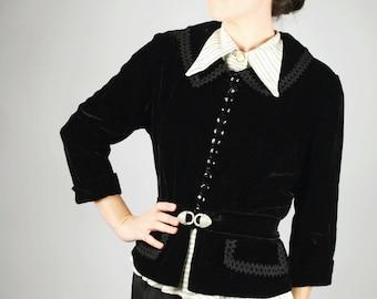 1940's Velvet Jacket - 40's Black Blazer - Size L/XL