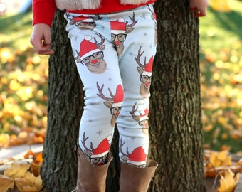 Christmas Baby Leggings, Toddler Leggings, Hipster Deer Leggings, Baby Clothing
