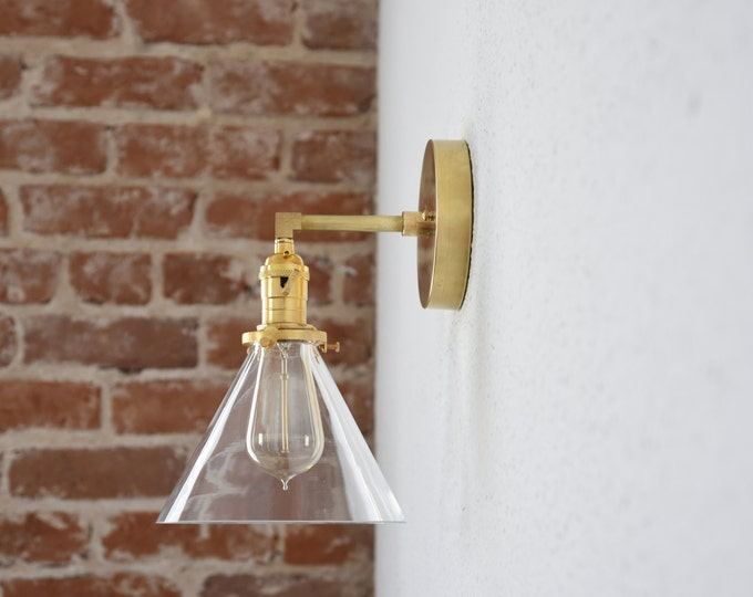 Free Shipping! Gold Brass 1 Light Wall Sconce Clear Cone Shade Vanity Century Industrial Modern Art UL Listed