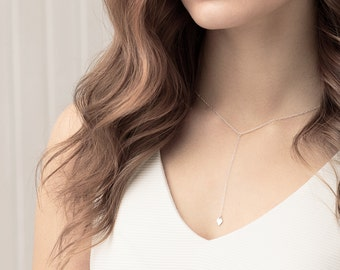 Long lariat necklace - sterling silver or gold filled Y necklace - long layering necklace - diamond charm necklace - silver drop necklace