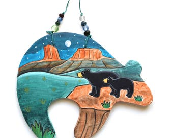 southwest Zuni bear spirit Native American Indian whimsical black bear & cub stargazing mesa desert night scene clay art bead Santa Fe style