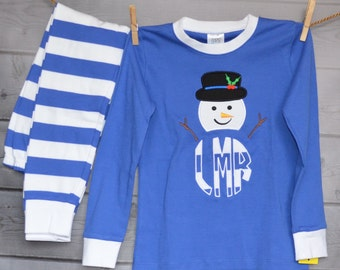 SnowMan with Hat Monogram Applique Shirt or Onesie Boy or Girl