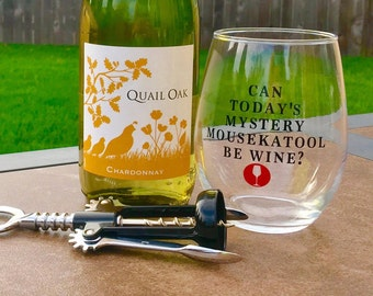 Mystery Mousekatool Wine Glass // Mystery Mousekatool Be Wine // Stemless Wine Glass // Can Today's Mystery Mousekatool Be Wine? // Mom Wine