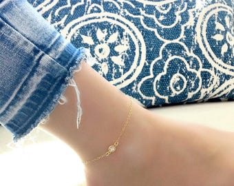 cubic zirconia anklet 14k gold filled cz diamond anklet swarovski birthstone anklet cz jewelry minimalist anklet bridesmaid anklets bridal