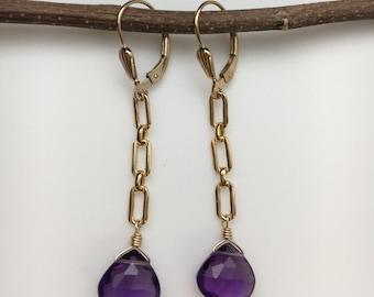 Amethyst Earrings, Brazilian Stone Earrings, Gemstone Earrings, Gold Dangle Earrings, Earrings Under 75