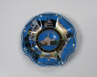 Vintage Disneyland Glass Tray Sleeping Beauty's Castle 70s 80s walt theme park souvenir candy dish trinket scalloped