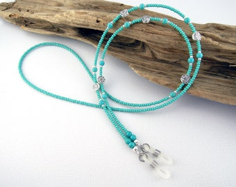 Turquoise Beaded Eyeglasses Chain, Necklace-Style Glass Bead Lanyard with Silver Accents, Rubber Loops for Glasses, Readers or Sunglasses