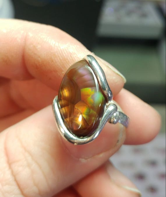 Rainbow Stone Ring | Mexican Fire Agate Ring | Sterling Silver Ring Sz 6 | Fire Agate Jewelry | Rare Gemstone Ring | Gift for a Rainbow Mom