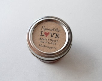 "20 Kraft 2"" Round Sticker Label Tags - Custom Wedding Favor & Gift Tags - Spread the Love Jam Flavor Kraft"