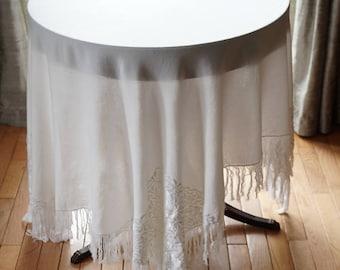 Vintage  Fringed Tablecloth,56.7 x 54 Off White Table Cover,Throw,Piano Shawl,Wrap,Christening Shawl,Boho Decor,Vintage Linens,Wedding Decor