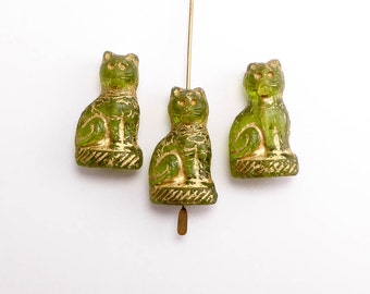 Light Green Cat Czech Glass Beads, (3 pcs) 24x14mm Cat Beads, Sitting Cat Beads, Green Cat Beads,  Gold Cat Beads, Animal Beads ANM0086