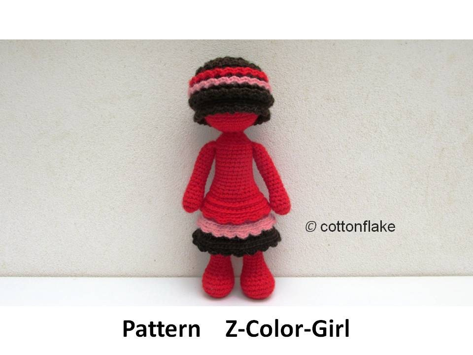 Crochet Amigurumi Doll Body : Pattern Z-Color Girl doll amigurumi crochet human body