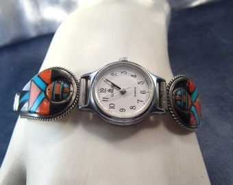 Native American Watch Pulsar Vintage Signed Navajo Clyde Begay Turquoise Spiny Oyster Stainless Steel