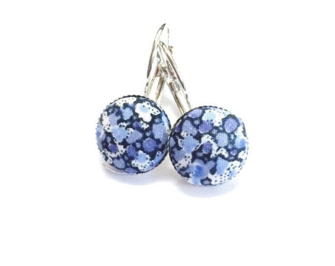 FREE SHIPPING 12mm Liberty Print Fabric Covered Button Earrings in shades of Blues and cream.