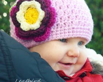 Crochet Baby Girl Hat, Crochet Flower Hat, Newborn Hat, Baby Girl Flower Hat, Baby Hat, Ready to ship