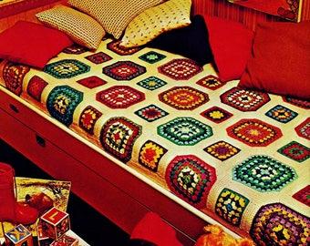 Granny Squares Afghan Vintage Crochet Pattern Download