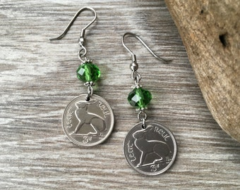 49th birthday gift, Rabbit earrings, 1968 Irish coin jewelry, Ireland, kelly green, anniversary, retirement gift for her, harp present woman
