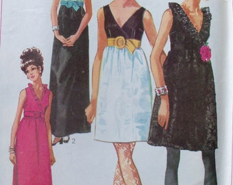 Vintage 1968 Empire Waist Dress Pattern Simplicity 7855 Size 12