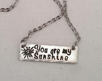 You Are My Sunshine Bar Necklace - Sun Sunshine Necklace
