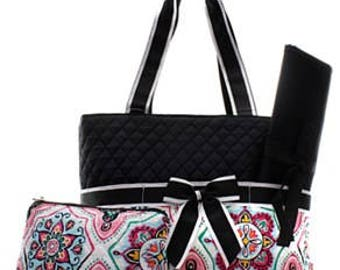 Geometric Garden Quilted Diaper Bag with Changing Pad & Accessory Bag - Geometric Diaper Bag - Baby Shower Gift - Floral Bag
