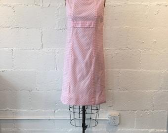 1960s Pink Gingham Lanz Original Dress // 60s Pink White Gingham Shift Dress // Vintage 60s Picnic Dress