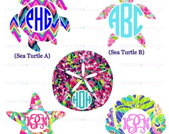 "Monogrammed Sea Life decal - Preppy prints 2"", 3"", 4"", or 5"" - Several styles/colors available - Great as a car decal, tech decal and more!"