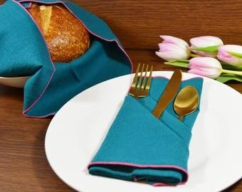 Teal Linen Dinner Napkins, set of 4 // Linen Napkins // Easter Napkins // Wedding Napkins // Surged Edge Napkins