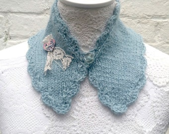 Collar- soft blue - hand knitted -neck warmer - neck scarf - mini scarflette