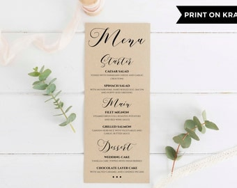 Wedding Menu Printable, Wedding Menu Template, Editable Wedding Menu, Rustic Wedding Menu, Dinner Menu Template, Instant Download. WC3