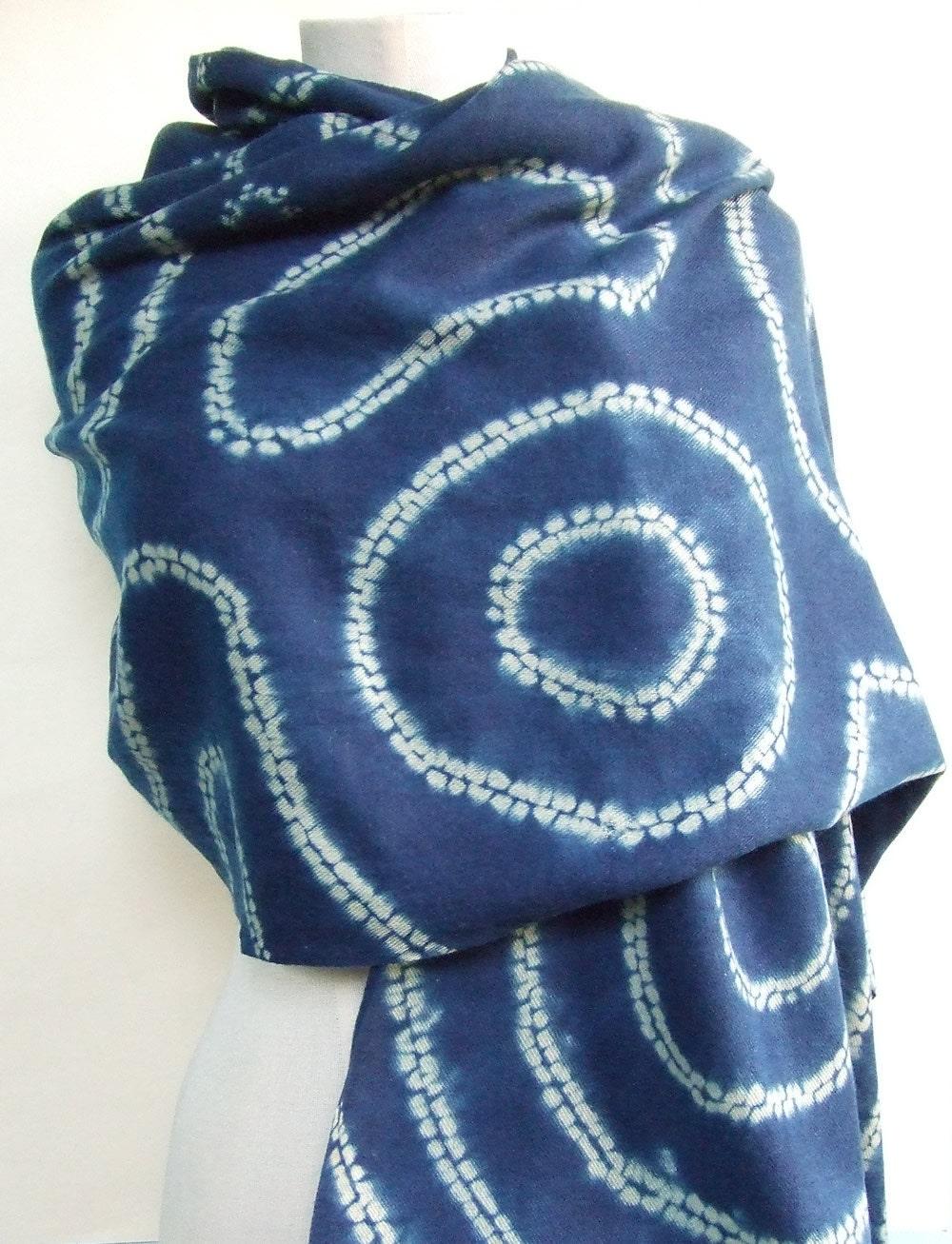 wool and silk scarf indigo scarf indigo shibori japanese