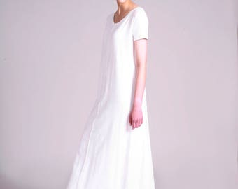 White Maxi Dress, Long  T Dress, Loose Fit, Long Dress, Short Sleeve, Maxi Dress, Casual, White Summer Dress