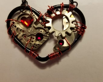 Red and Black Heart Pendant