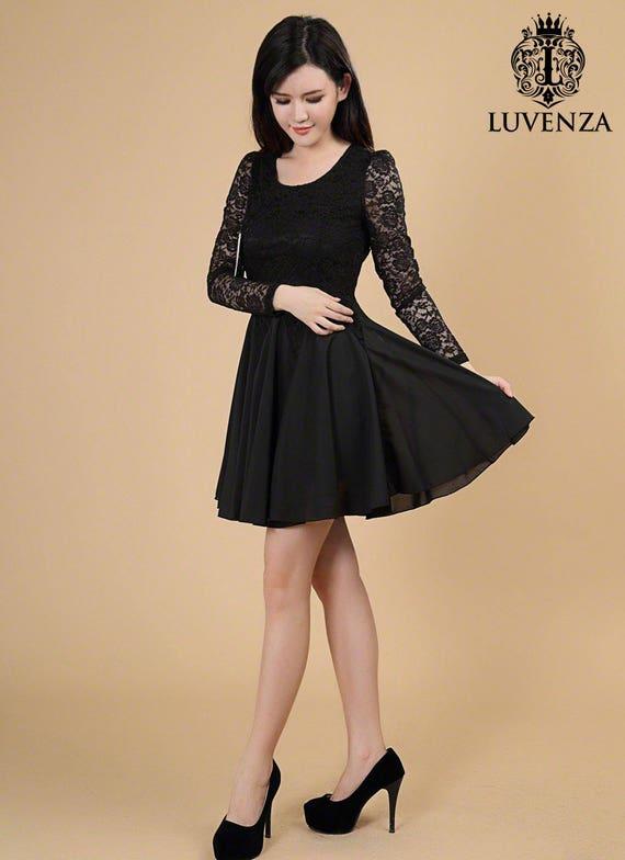 Black Lace Chiffon Dress / Black Fit and Flare Dress / Long