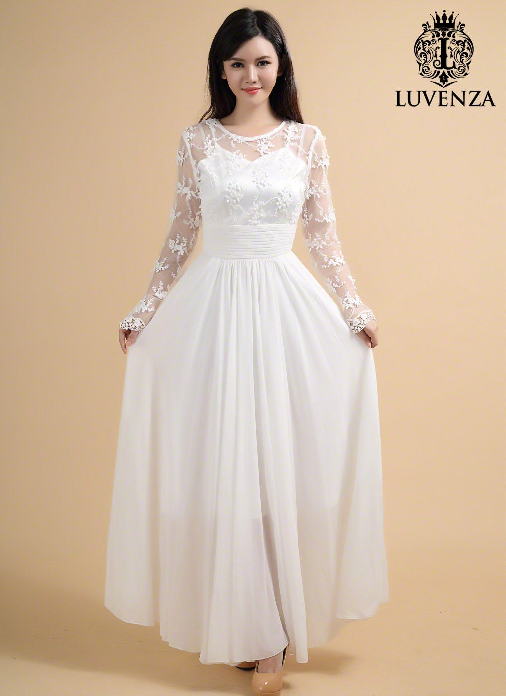Long Sleeve Lace Maxi Dress White Lace Dress White Maxi