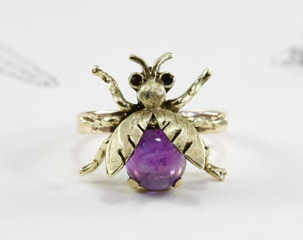 Amethyst Ring, Vintage 14k Yellow Gold & Amethyst Bug Bee Beetle Ring Jewelry, Bohemian Statement Talisman February Birthstone