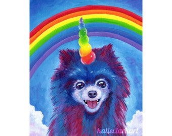 Rainbow Pomicorn Art Print - Pomeranian Unicorn Painting - Rainbow Dog - Cute Silly Colorful Fine Art - Wall Art -Home Decor Katie Clark Art