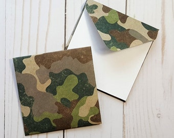 Camo Mini Envelopes, Camouflage Note Cards, Enclosure Cards, Blank Cards, Gift Enclosures, Small Stationery, Favor Cards, Set of 4