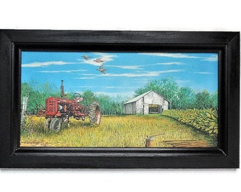 Farmall Tractor, Country Decor, Primitive Decor, Wall Hanging, Art Print, Country Art, Handmade, 19x11, Custom Wood Frame, Made in the USA