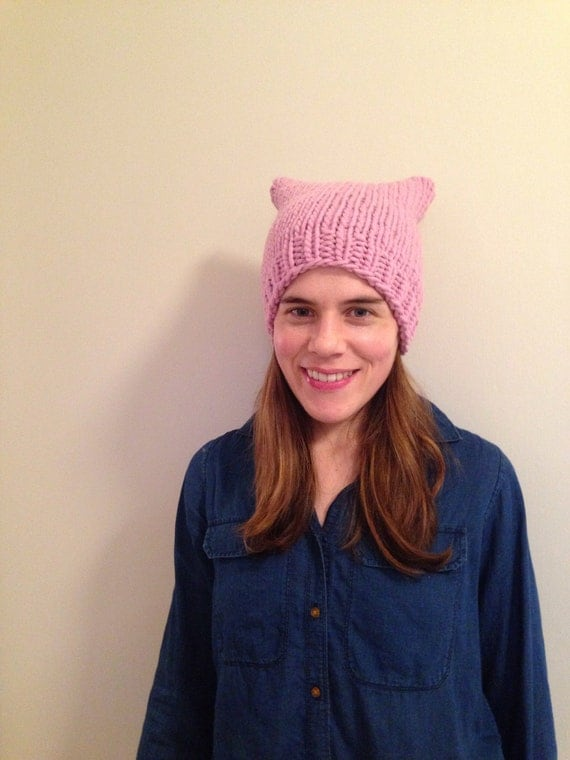 READY TO SHIP pink pussy hat hand knit 100% usa-made wool cat ear light pink chunky