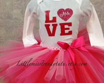 Valentines's Tutu Set, Tutu and Shirt, Valentines Shirt, Red and Pink Tutu, Valentines Tutu and Shirt Set, Valentines, Girls Tutus
