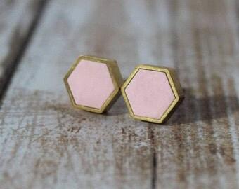 Ballet Pink Hexagon Stud Earrings- Brass Frame