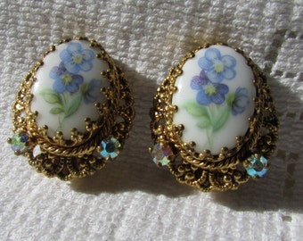 Vintage hand painted? forget me not milk glass and AB crystal clip on  earrings W Germany