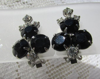 Vintage jet black and clear rhinestone clip on  earrings