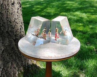 Pair of Lucite Bookends with Flowers Imbedded