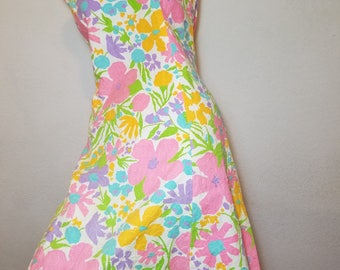 FREE  SHIPPING   1950  Abstract  Floral  Dress