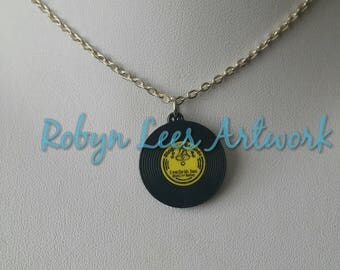 Small Vinyl Record LP Acrylic Charm Necklace on Silver Crossed Chain or Black Faux Suede Cord. Music, 50s, Retro, Vintage, Band